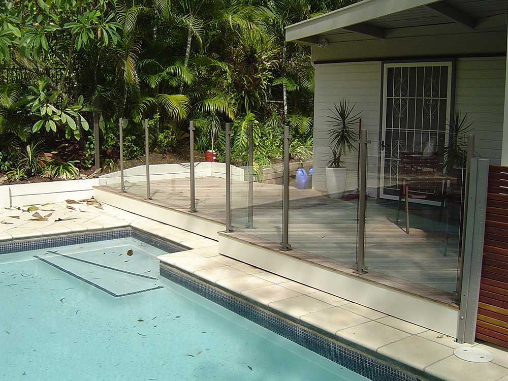 Glass pool fencing semi frameless design 8 balustrade for Pool fence design qld
